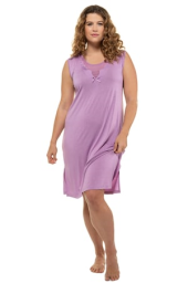 Plus Size Scallop Accent Stretch Knit Tank Nightgown