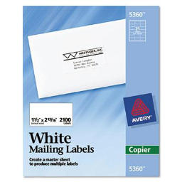 """Avery 2-13/16"""" x 1-1/2"""" Copier Mailing Labels  White  2100/Box"""
