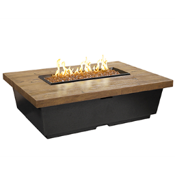 Contempo Rectangle Fire Pit Table (Textured Finish or Reclaimed Wood)