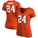 Women's NFL Pro Line by Fanatics Branded Nick Chubb Orange Cleveland Browns Authentic Stack Name & Number V-Neck T-Shirt