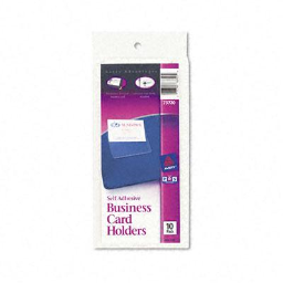 """Avery 3-1/2"""" x 2"""" Self-Adhesive Top-Load Business Card Holders  10/Pack"""