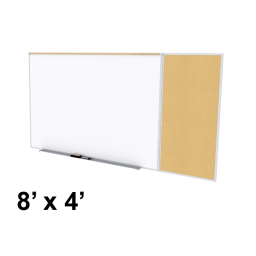 Ghent Style-C 8' x 4' Natural Cork Tackboard and Porcelain Magnetic Combination Whiteboard