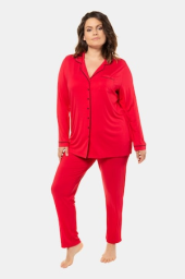 Plus Size Piped Accent Button Front Stretch Knit Pajama Set