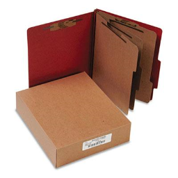 Acco 8-Section Letter Pressboard 25-Point Classification Folders  Earth Red  10/Box