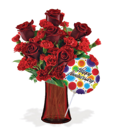 Stunning Red with Vase & Anniversary Balloon Flower Delivery