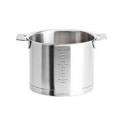 Cristel Strate L Brushed Stainless Milkpot with Side Handles, 1.7 qt