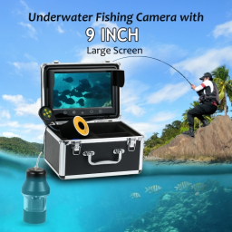 Lixada Professional Underwater Fishing Camera Fish Finder with Touch Buttons 9 Inch Large Color Screen Waterproof 18 LEDs 360 Degree Rotating Camera