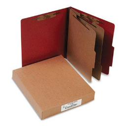 Acco 6-Section Letter Pressboard 25-Point Classification Folders  Earth Red  10/Box