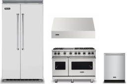Viking 5 4 Piece Kitchen Appliances Package with Side-by-Side Refrigerator, Gas Range and Dishwasher in Stainless Steel VIRERADWRH1004