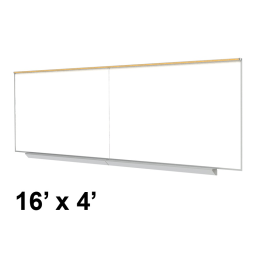 Ghent Premium Aluminum Frame 16' x 4' Porcelain Magnetic Whiteboard with Box Tray  Map Rail