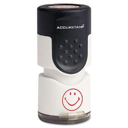 """Accustamp """"Smiley"""" Pre-Inked Round Stamp with Microban  Red Ink  5/8"""""""