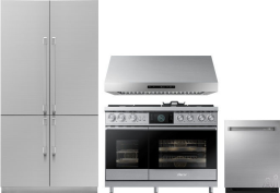Dacor Contemporary 4 Piece Kitchen Appliances Package with French Door Refrigerator, Dual Fuel Range and Dishwasher in Panel Ready DARERADWRH40