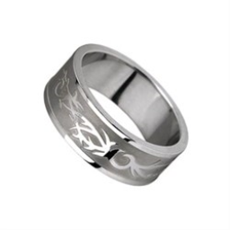 Finger Ring Stainless Steel with Tribal Symbol Design