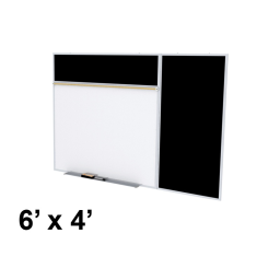 Ghent Style-B 6' x 4' Rubber Tackboard & Porcelain Magnetic Combination Whiteboard