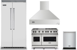 Viking 5 4 Piece Kitchen Appliances Package with Side-by-Side Refrigerator, Gas Range and Dishwasher in Stainless Steel VIRERADWRH1012
