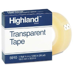 """Highland 3/4"""" x 36 yds Transparent Tape  1"""" Core  Clear"""