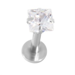 Labret Stud 16G Internally Threaded Surgical Steel with Prong Set CZ Gem