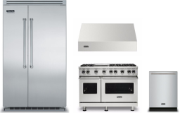 Viking 5 4 Piece Kitchen Appliances Package with Side-by-Side Refrigerator, Gas Range and Dishwasher in Stainless Steel VIRERADWRH1017