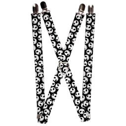 """Suspenders - 1.0"""" - NBC Jack Expressions Scattered Black White"""