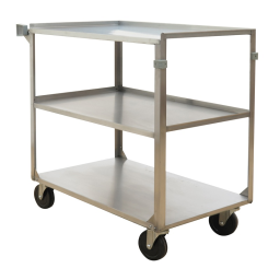 """Wesco SS4C44 500 lb Load 21"""" x 35"""" Stainless Steel Service Cart"""