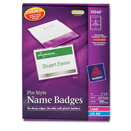 """Avery 3"""" x 4"""" Top Load Badge Holder Kit with Badge Insert  White  100/Box"""
