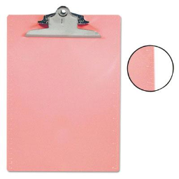 """Saunders 1"""" Capacity 8-1/2"""" x 12"""" Recycled Plastic Clipboard  Pink"""