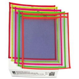 """C-Line 9"""" x 12"""" Stitched Shop Ticket Holder  Assorted Colors  25/Box"""