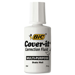BIC Cover-It Commercial Correction Fluid  20 ml Bottle  White  12-Pack
