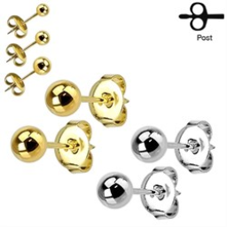 Pair of Ion-Plated Hollow Ball 20ga Stud Earrings