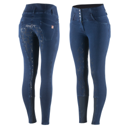 Horze LIMITED EDITION Kacy Women's Winter Denim Look Silicone Breeches