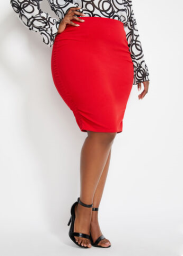 Plus Size Ruched High-Waist Skirt, Racing Red, 26/28 - Ashley Stewart