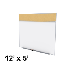 Ghent Style-A 12' x 5' Natural Cork Tackboard and Porcelain Magnetic Combination Whiteboard