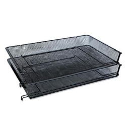 Universal One Two-Tier Mesh Stackable Side-Load Legal Tray  Black