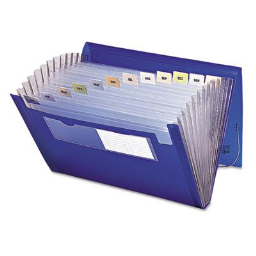 Smead 12-Pocket Letter Expanding File with Closure  Blue/Clear