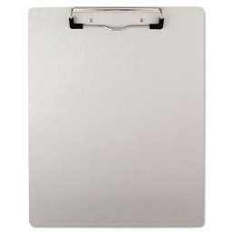 """Universal One 1/2"""" Capacity 8-1/2"""" x 11"""" Brushed Aluminum Plastic Clipboard  Silver"""