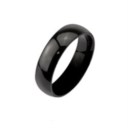 Stainless Steel Glossy Mirror Polished Black Finger Ring