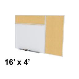 Ghent Style-B 16' x 4' Natural Cork Tackboard and Porcelain Magnetic Combination Whiteboard