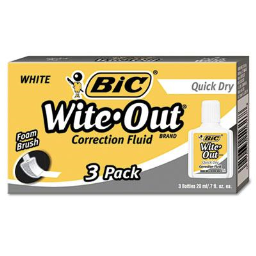 BIC Wite-Out Quick Dry Correction Fluid  20 ml Bottle  White  3-Pack