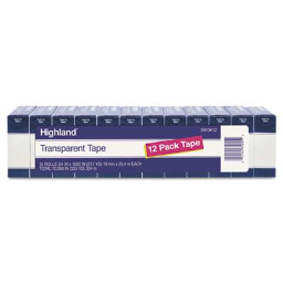 """Highland 3/4"""" x 27.8 yds Transparent Tape  1"""" Core  Clear  12-Pack"""