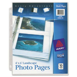 """Avery Four 4"""" x 6"""" 3-Hole Punched Horizontal Photo Pages  10/Pack"""