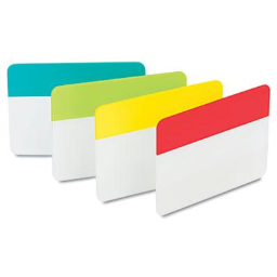 """Post-It 2"""" x 1-1/2"""" Durable File Tabs  Aqua/Lime/Red/Yellow  24/Pack"""