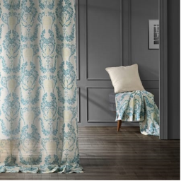 Terrace Teal Grommet Printed Sheer Curtain