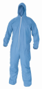 Disposable Coveralls Blue 50G SMS with Hood, elastic Cuffs, Ankles, Hood & Waist, 2X-Large - 25 Pieces = 1 MCS