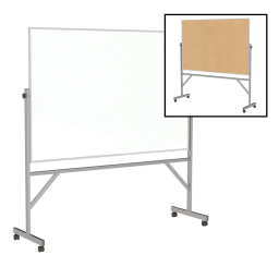Ghent Dry Erase and Natural Cork 6' x 4' Aluminum Frame Reversible Mobile Whiteboard