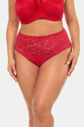 Plus Size 2 Pack of Lace Waist Stretch Panties - Black, Red