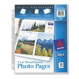 """Avery Six 4"""" x 6"""" 3-Hole Punched Mixed Format Photo Pages  10/Pack"""