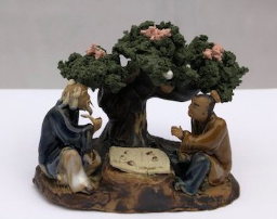 Ceramic Figurine <br>Two Men Playing Board Game Under A Tree