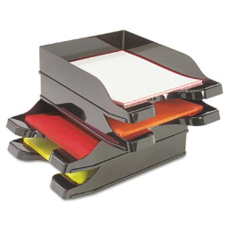 """Deflect-o 2-1/2"""" H Two-Tier Docutray Multi-Directional Stacking Desk Tray Set  Black"""