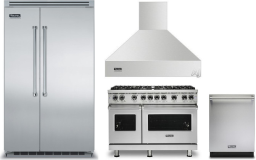 Viking 5 4 Piece Kitchen Appliances Package with Side-by-Side Refrigerator, Gas Range and Dishwasher in Stainless Steel VIRERADWRH1241
