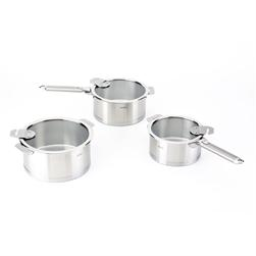 Cristel Strate L Brushed Stainless 8-Piece Cookware Set, Removable Handles